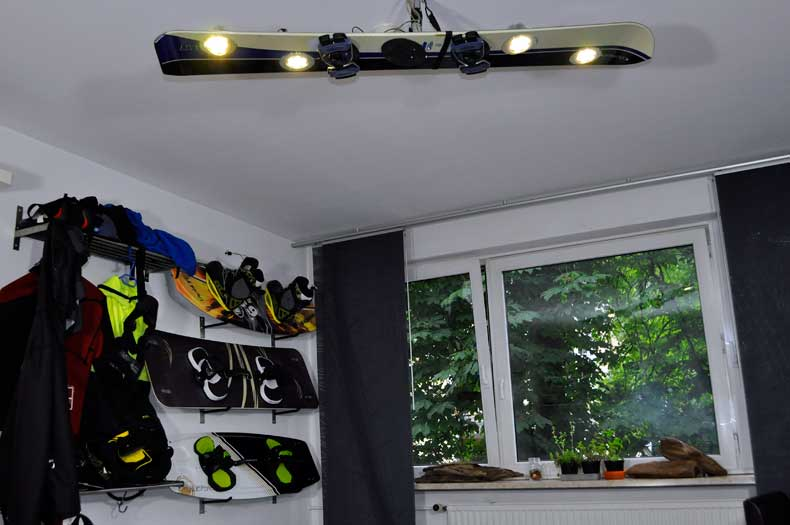 Snowboard-Lampe-Upcycling