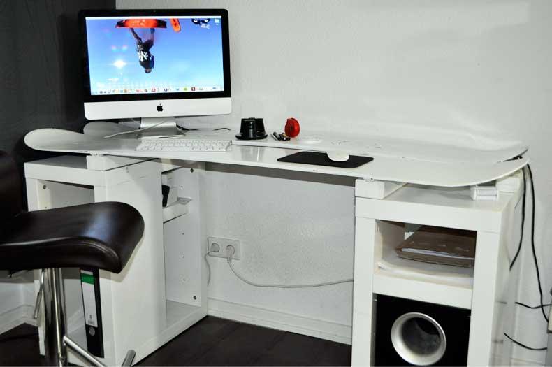 Snowboard-Schreibtisch-Upcycling