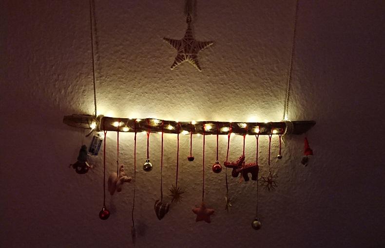 Treibholzeffekt Treibholz Ast Wanddeko Mit Lichterkette Advent