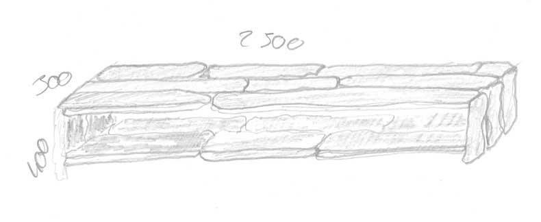 Skizze zum Bau des Möbel aus Treibholz